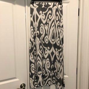 INC Long Gray and White Skirt Sz M